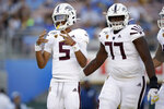 Arizona State quarterback Jayden Daniels (5) celebrates after scoring a rushing touchdown against UCLA during the first half of an NCAA college football game Saturday, Oct. 26, 2019, in Pasadena, Calif. (AP Photo/Marcio Jose Sanchez)