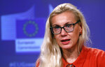 EU Commissioner for Energy Kadri Simson speaks during a media conference on the Methane Strategy and the Renovation Wave at EU headquarters in Brussels, Wednesday, Oct. 14, 2020. (Francois Lenoir, Pool via AP)
