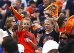 Young fans watch during a celebration honoring the Virginia Cavaliers for winning the NCAA men's college basketball championship, Saturday, April 13, 2019, at Scott Stadium in Charlottesville, Va. (Zack Wajsgras/The Daily Progress via AP)