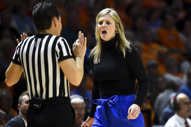 Tennessee coach Kellie Harper exchanges words with an official during the team's NCAA college basketball game against Texas A&M in Knoxville, Tenn., Sunday, Feb. 16, 2020. (Saul Young/Knoxville News Sentinel via AP)