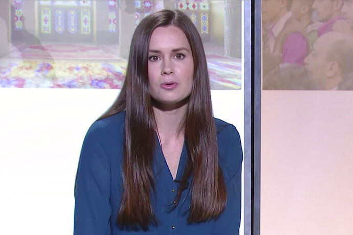 This image made from a 2017 video by The Modern Middle East shows Kylie Moore-Gilbert, a University of Melbourne scholar on the Middle East.  Australia is seeking information from Iran on reports that the British-Australian academic who was convicted of espionage had been moved at the weekend from a prison to a mystery location, the foreign minister said on Monday, Oct. 26, 2020. (The Modern Middle East via AP)