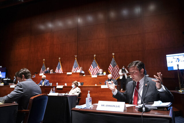 Rep. Mike Johnson, R-La., speaks during a House Judiciary Committee markup of the Justice in Policing Act of 2020 on Capitol Hill in Washington, Wednesday, June 17, 2020. (Sarah Silbiger/Pool via AP)