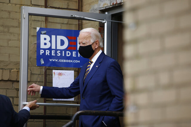Democratic presidential candidate, former Vice President Joe Biden arrives at Carlette's Hideaway, a soul food restaurant, to speak with small business owners, Wednesday, June 17, 2020, in Yeadon, Pa. (AP Photo/Matt Slocum)