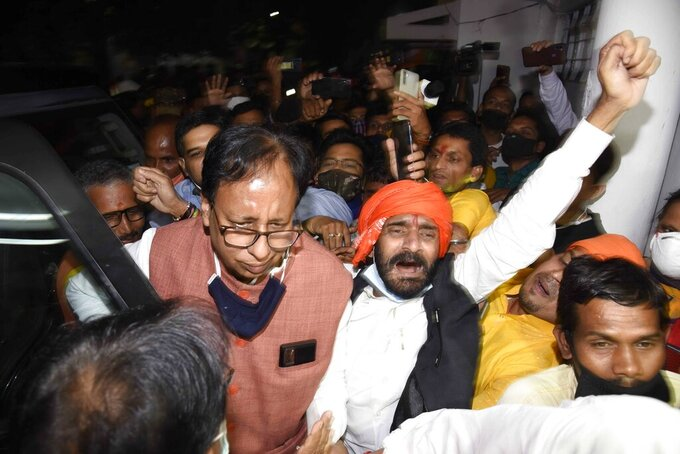 Bharatiya Janata Party (BJP) Bihar state President Sanjay Jaiswal arrives at the party headquarters after NDA's lead during the counting of votes ofthe Bihar state assembly polls, in Patna, India, Tuesday, Nov. 10, 2020. (AP Photo/Aftab Alam Siddiqui)