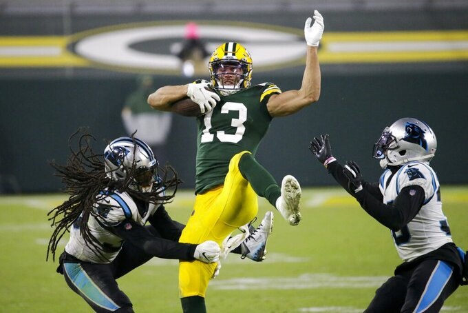 Green Bay Packers' Allen Lazard catches a pass during the second half of an NFL football game against the Carolina Panthers Saturday, Dec. 19, 2020, in Green Bay, Wis. The Packers won 24-16. (AP Photo/Mike Roemer)