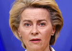 European Commission President Ursula von der Leyen delivers a statement after a meeting of the college of commissioners at EU headquarters in Brussels, Wednesday, April 14, 2021. EU Commission chief Ursula von der Leyen announced plans Wednesday for a major contract extension for COVID-19 vaccines with Pfizer stretching to 2023. (John Thys, Pool via AP)