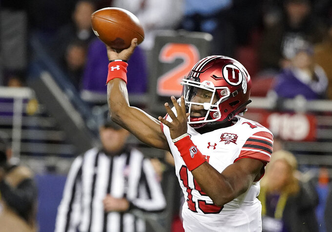 Utah quarterback Jason Shelley throws a pass against Washington during the first half of the Pac-12 Conference championship NCAA college football game in Santa Clara, Calif., Friday, Nov. 30, 2018. (AP Photo/Tony Avelar)