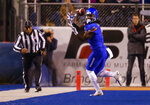 Boise State wide receiver A.J. Richardson (7) turns back for the ball on a reception against BYU during the first half of an NCAA college football game Saturday, Nov. 3, 2018, in Boise, Idaho. (AP Photo/Steve Conner)