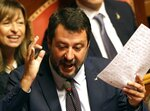 Former Deputy Premier, the League's Matteo Salvini makes his statement at the Senate ahead of a second confidence vote for Italian Premier Giuseppe Conte's coalition government, in Rome, Tuesday, Sept. 10, 2019. Conte on Monday won the first of two mandatory confidence votes on his four-day-old coalition of rival parties, after a day of fielding insults during a boisterous Parliament session from an opposition outraged that Italy got a new government instead of a new election.(AP Photo/Gregorio Borgia)
