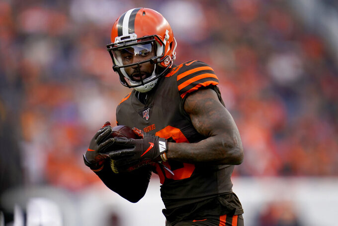 Cleveland Browns wide receiver Jarvis Landry (80) against the Denver Broncos during the first half of NFL football game, Sunday, Nov. 3, 2019, in Denver. (AP Photo/Jack Dempsey)