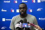 Philadelphia 76ers' Marial Shayok speaks with members of the media during the NBA basketball team's minicamp in Camden, N.J., Monday, July 1, 2019. (AP Photo/Matt Rourke)