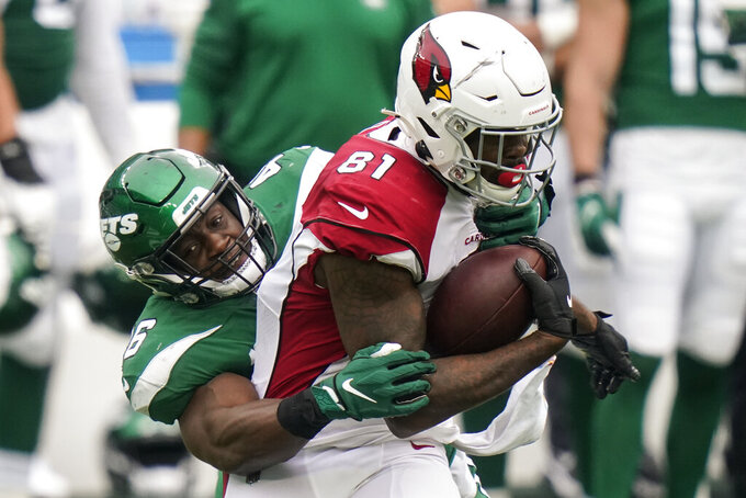 Arizona Cardinals tight end Darrell Daniels (81) runs the ball against New York Jets linebacker Neville Hewitt (46) during the second half of an NFL football game, Sunday, Oct. 11, 2020, in East Rutherford. (AP Photo/Frank Franklin II)