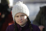 Climate activist Greta Thunberg arrives for a media event near the congress center where the World Economic Forum take place in Davos, Switzerland, Friday, Jan. 25, 2019.(AP Photo/Markus Schreiber)
