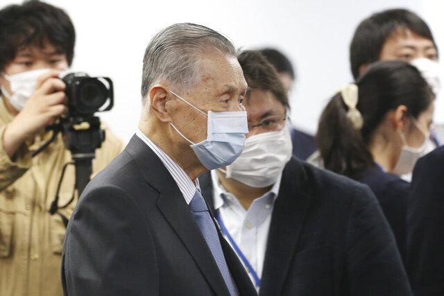 """Tokyo 2020 Organizing Committee President Yoshiro Mori arrives for the first meeting of  the """"Tokyo 2020 New Launch Task Force"""