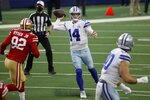 San Francisco 49ers defensive end Kerry Hyder Jr. (92) rushes as Dallas Cowboys quarterback Andy Dalton (14) throws a pass in the first half of an NFL football game in Arlington, Texas, Sunday, Dec. 20, 2020. (AP Photo/Ron Jenkins)