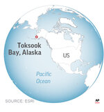 Map locates Toksook Bay, Nelson Island, Alaska.;