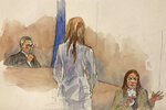FILE- In this Jan. 27, 2020, file courtroom sketch, Manhattan Supreme Court Judge James Burke, left, listens to testimony from witness Mimi Haleyi, right, while assistant Assistant District Attorney Megan Hast also listens during Harvey Weinstein's sexual misconduct and rape trial in New York. On Friday, Oct. 30, Haleyi filed a lawsuit against Weinstein, seeking damages for what she described as lasting injuries. The former