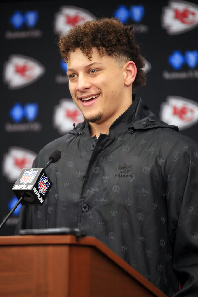 Kansas City Chiefs quarterback Patrick Mahomes speaks at a news conference following the Chiefs' 31-13 win over the Indianapolis Colts in an NFL divisional football playoff game in Kansas City, Mo., Saturday, Jan. 12, 2019. AP Photo/Ed Zurga)