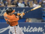 Baltimore Orioles' Renato Nunez hits a two-run home run against the Toronto Blue Jays in the fourth inning of a baseball game in Toronto, Saturday, July 6, 2019. (Fred Thornhill/The Canadian Press via AP)