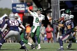 New York Jets quarterback Luke Falk (8) passes against the New England Patriots in the first half of an NFL football game, Sunday, Sept. 22, 2019, in Foxborough, Mass. (AP Photo/Steven Senne)