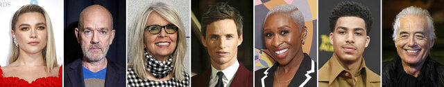 This combination photo of celebrities with birthdays from Jan. 3-9 shows, from left, Florence Pugh, Michael Stipe, Diane Keaton, Eddie Redmayne, Cynthia Erivo and Jimmy Page. (AP Photo)