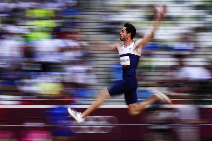 Miltiadis Tentoglou, of Greece, competes in men's long jump final at the 2020 Summer Olympics, Monday, Aug. 2, 2021, in Tokyo.(AP Photo/David J. Phillip)