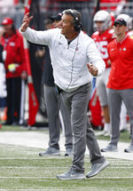 Ohio State head coach Urban Meyer shouts to his team during the first half of an NCAA college football game against Minnesota, Saturday, Oct. 13, 2018, in Columbus, Ohio. (AP Photo/Jay LaPrete)