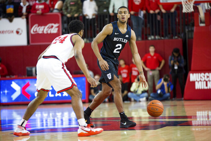 Butler guard Aaron Thompson (2) looks to pass the ball during the first half of an NCAA college basketball game against St. John's, Tuesday, Dec. 31, 2019, in New York. (AP Photo/Julius Constantine Motal)
