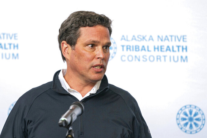 FILE - In this Aug. 12, 2020, file photo, Alaska Native Tribal Health Consortium Chairman Andy Teuber speaks at a press conference at the Alaska Native Tribal Health Consortium in Anchorage, Alaska. A federal report says Teuber died in a helicopter crash while trying to reach his family before they saw a newspaper story detailing allegations of sexual misconduct against him. Teuber, the former head of Alaska's largest health care organization, is presumed dead in a crash of his R helicopter March 2, 2021, in the Gulf of Alaska. (Loren Holmes/Anchorage Daily News via AP, File)