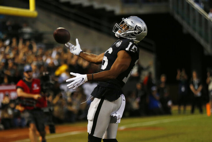Oakland Raiders wide receiver Tyrell Williams celebrates after scoring a touchdown during the first half of an NFL football game against the Denver Broncos Monday, Sept. 9, 2019, in Oakland, Calif. (AP Photo/D. Ross Cameron)