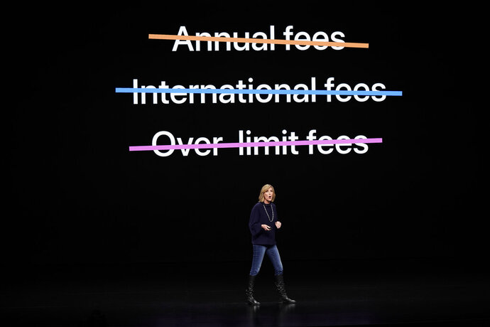 Jennifer Bailey, vice president of Apple Pay, speaks at the Steve Jobs Theater during an event to announce new products Monday, March 25, 2019, in Cupertino, Calif. (AP Photo/Tony Avelar)