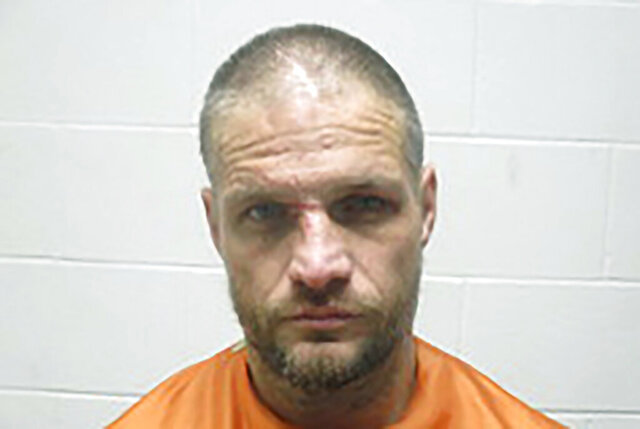 This Jan. 1, 2020, photo provided by the Creek County (Oklahoma) Sheriff's Department shows Brandon Wade Kirby. Police in Oklahoma say Kirby was arrested on New Year's Day after he allegedly took a truck and drove it more than 100 miles with a sleeping passenger and a goat inside.  Authorities say he was eventually arrested near Tulsa, Oklahoma, after he let the passenger and goat go, and the victim called police.  (Creek County Sheriff's Department via AP)