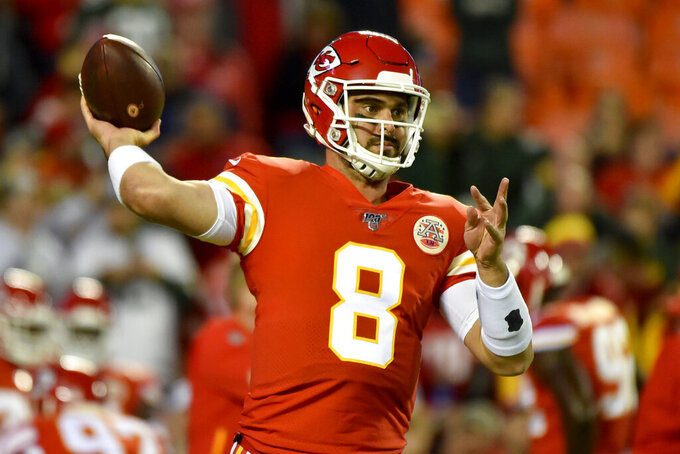 Kansas City Chiefs quarterback Matt Moore (8) warms up before an NFL football game against the Green Bay Packers in Kansas City, Mo., Sunday, Oct. 27, 2019. (AP Photo/Ed Zurga)