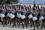 Ukrainian military drummers march along main Khreshchatyk Street during a military parade to celebrate Independence Day in Kyiv, Ukraine, Tuesday, Aug. 24, 2021. Ukraine mark the 30th anniversary of its independence. (AP Photo/Efrem Lukatsky)