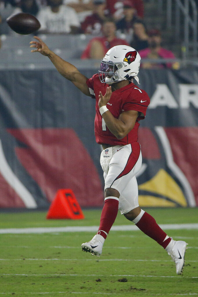 Arizona Cardinals quarterback Kyler Murray (1) throws against the Los Angeles Chargers during the first half of an NFL preseason football game, Thursday, Aug. 8, 2019, in Glendale, Ariz. (AP Photo/Rick Scuteri)