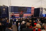 Presentation of colors by U.S Marines and singing of the U.S national anthem during the opening ceremony of the new US embassy in Jerusalem, Monday, May 14, 2018. Amid deadly clashes along the Israeli-Palestinian border, President Donald Trump's top aides and supporters on Monday celebrated the opening of the new U.S. Embassy in Jerusalem as a campaign promised fulfilled. (AP Photo/Sebastian Scheiner)