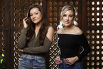 "In this March 20, 2019, photo, Taylor Dye, left, and Madison Marlow, of the duo Maddie & Tae, pose in Nashville, Tenn. Nearly four years after their first album, the country duo are releasing their first EP on their new label Mercury Nashville called ""One Heart to Another,"" on April 26. A full album will be released later this year.  (AP Photo/Mark Humphrey)"