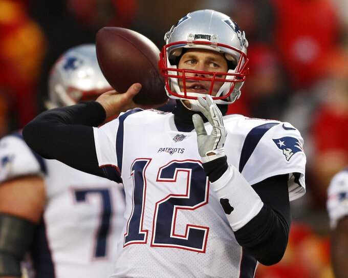New England Patriots quarterback Tom Brady warms up before the AFC Championship NFL football game against the Kansas City Chiefs, Sunday, Jan. 20, 2019, in Kansas City, Mo. (AP Photo/Jeff Roberson)