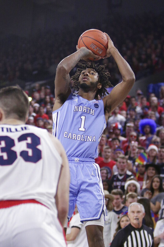 North Carolina guard Leaky Black (1) shoots during the first half of an NCAA college basketball game against Gonzaga in Spokane, Wash., Wednesday, Dec. 18, 2019. (AP Photo/Young Kwak)