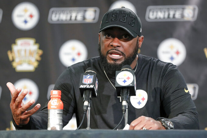 Pittsburgh Steelers coach Mike Tomlin speaks during a news conference after the team's NFL football game against the Los Angeles Rams, Sunday, Nov. 10, 2019, in Pittsburgh. The Steelers won 17-12. (AP Photo/Keith Srakocic)
