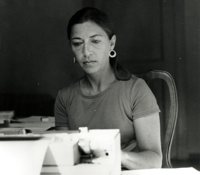 This image provided by the Supreme Court shows Ruth Bader Ginsburg types while on a Rockefeller Foundation fellowship in Italy in 1977. Ruth Bader Ginsburg died at her home in Washington, on Sept. 18, 2020, the Supreme Court announced. (Collection of the Supreme Court of the United States via AP)