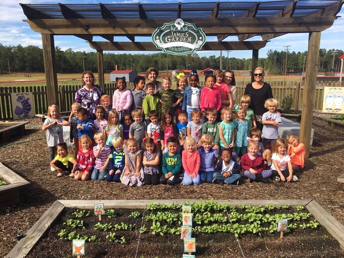 The 4-K class of Orangeburg Preparatory Schools in Orangeburg helped plant fruit and vegetables in Jamie's Garden located at the school's Lower Campus. The class is pictured out at the garden, where they have planted everything from pumpkins and ornamental kale to blueberries and strawberries. The garden was built in memory of slain 2002 OP graduate Jameson