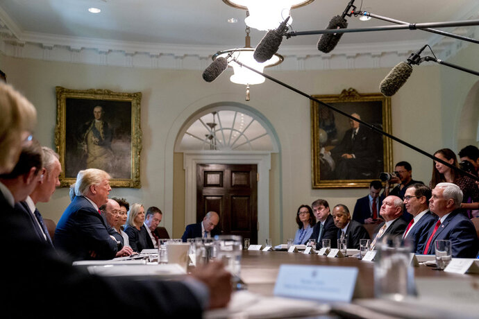 FILE - In this Aug. 16, 2018, file photo, President Donald Trump speaks during a cabinet meeting in the Cabinet Room of the White House in Washington. ots of Trump administration officials were quick on Thursday, Sept. 6, to scratch their names off the list of potential authors of an unsigned New York Times opinion piece by a member of the so-called resistance working to thwart