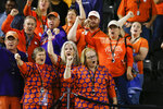 Clemson fans cheers during media day for NCAA College Football Playoff national championship game Saturday, Jan. 11, 2020, in New Orleans. Clemson is scheduled to play LSU on Monday. (AP Photo/Gerald Herbert).