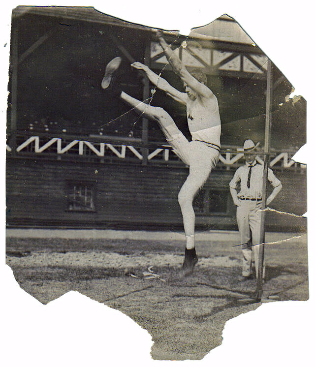 This undated image provided courtesy of Thomas Carson, shows Ray Ewry competing in the standing high jump. Ewry began one of the greatest Olympic careers in history at the 1900 Paris Games. The American jumper excelled in the standing high jump, standing long jump and standing triple jump around the turn of the century and won all three events in Paris on the same day. (Courtesy Thomas Carson via AP)