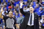 DePaul coach Dave Leitao, right, calls a play during the first half of an NCAA college basketball game against Creighton in Omaha, Neb., Saturday, Feb. 15, 2020. (AP Photo/Nati Harnik)
