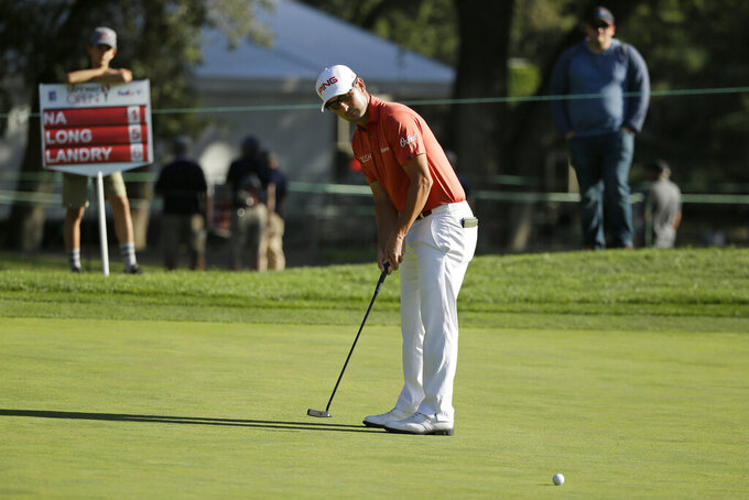 Andrew Landry putts on the seventh green of the Silverado Resort North Course during the first round of the Safeway Open PGA golf tournament Thursday, Sept. 26, 2019, in Napa, Calif. (AP Photo/Eric Risberg)