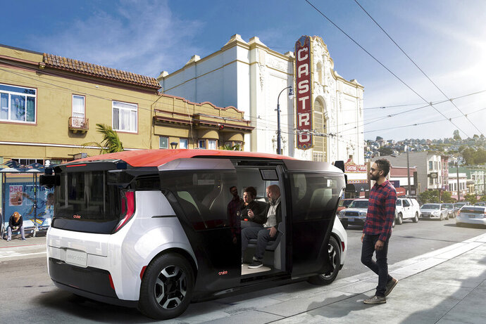This undated image provided by Cruise shows a rendering of an unorthodox electric vehicle called