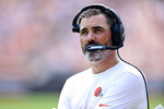 Cleveland Browns head coach Kevin Stefanski watches the first half of an NFL football game against the New York Giants, Sunday, Aug. 22, 2021, in Cleveland. (AP Photo/David Dermer)