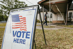 A sign directs voters at the Ryan Youth Center during the municipal primary elections, Tuesday, April 6, 2021, in Ocean Springs, Miss. (Alyssa Newton/The Sun Herald via AP)